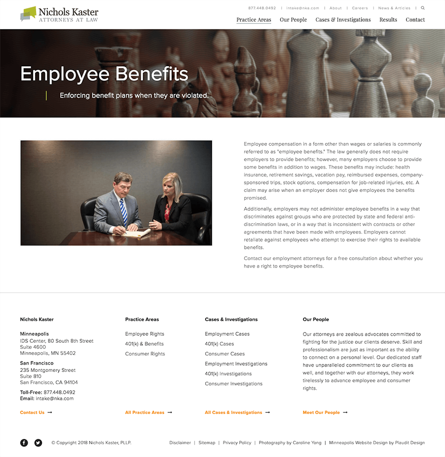 Screenshot of employee benefits page on Nichols Kaster website.