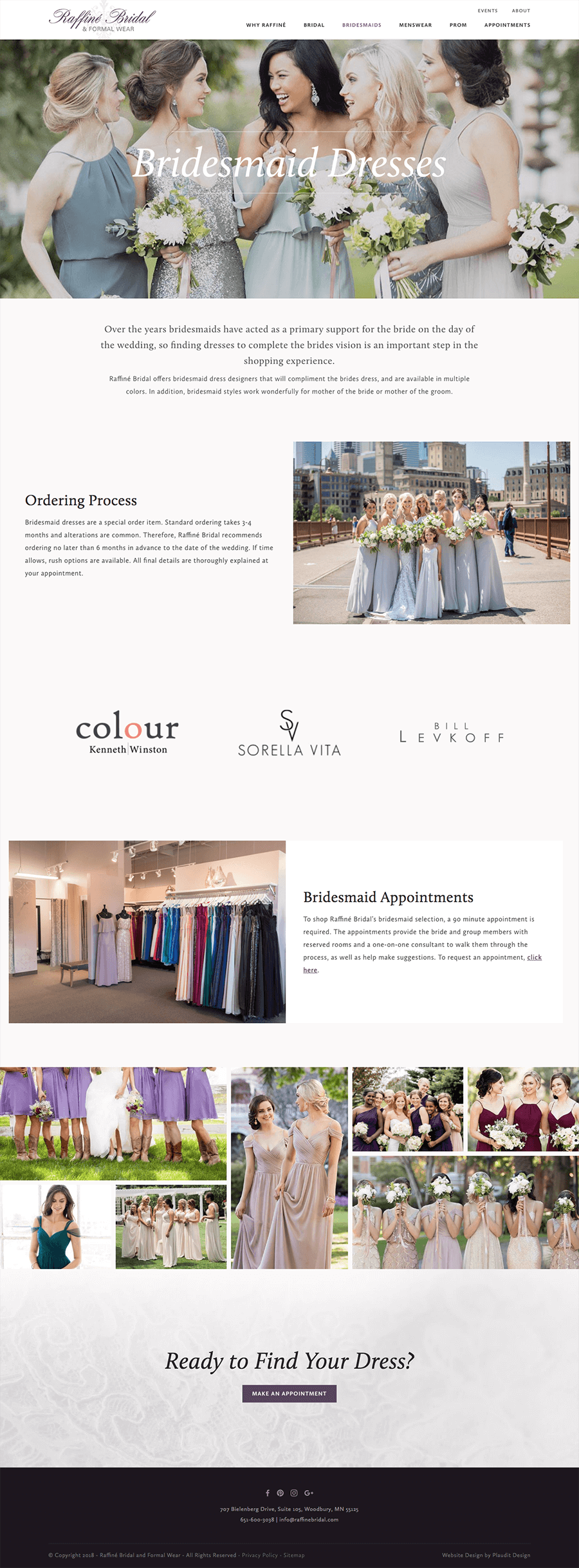 Screenshot of bridesmaids page on Raffine Bridal website.
