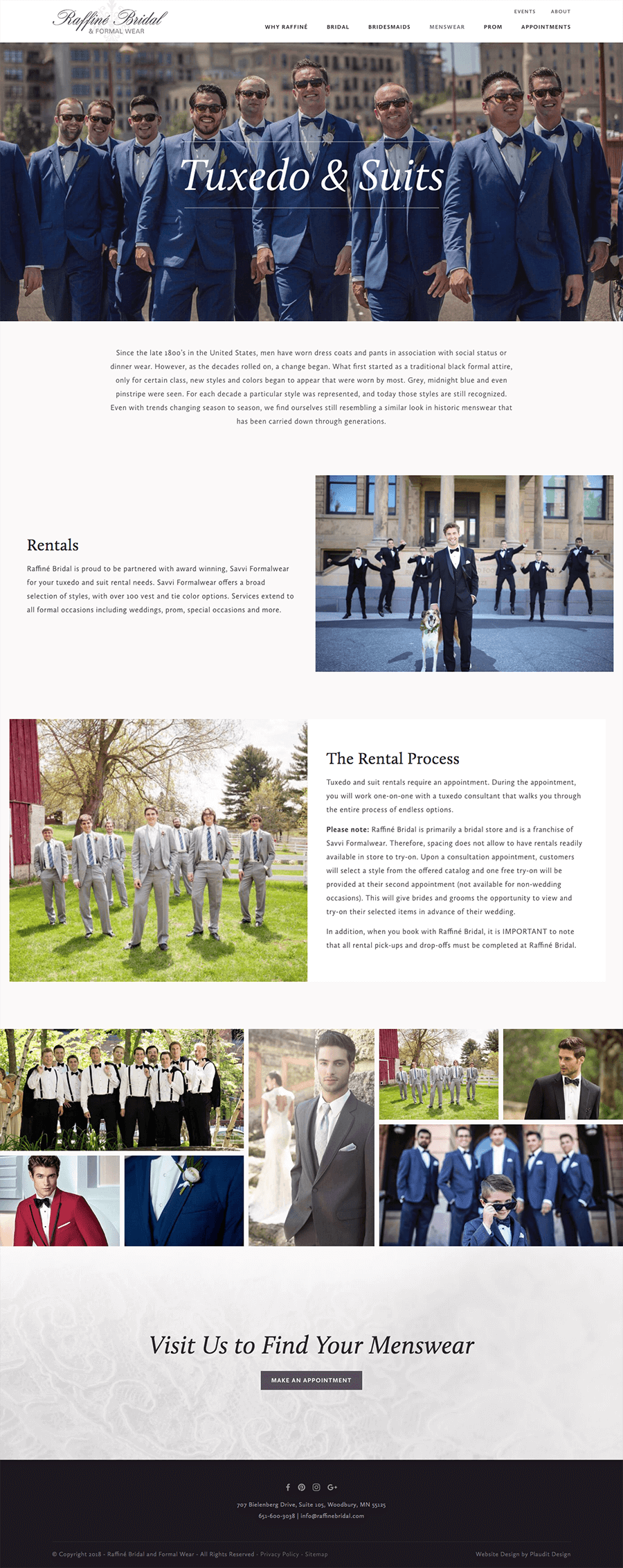 Screenshot of menswear page on Raffine Bridal website.