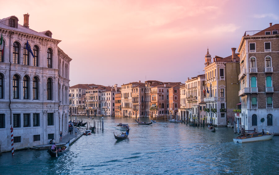 Buildings along the canals of Venice, Italy.