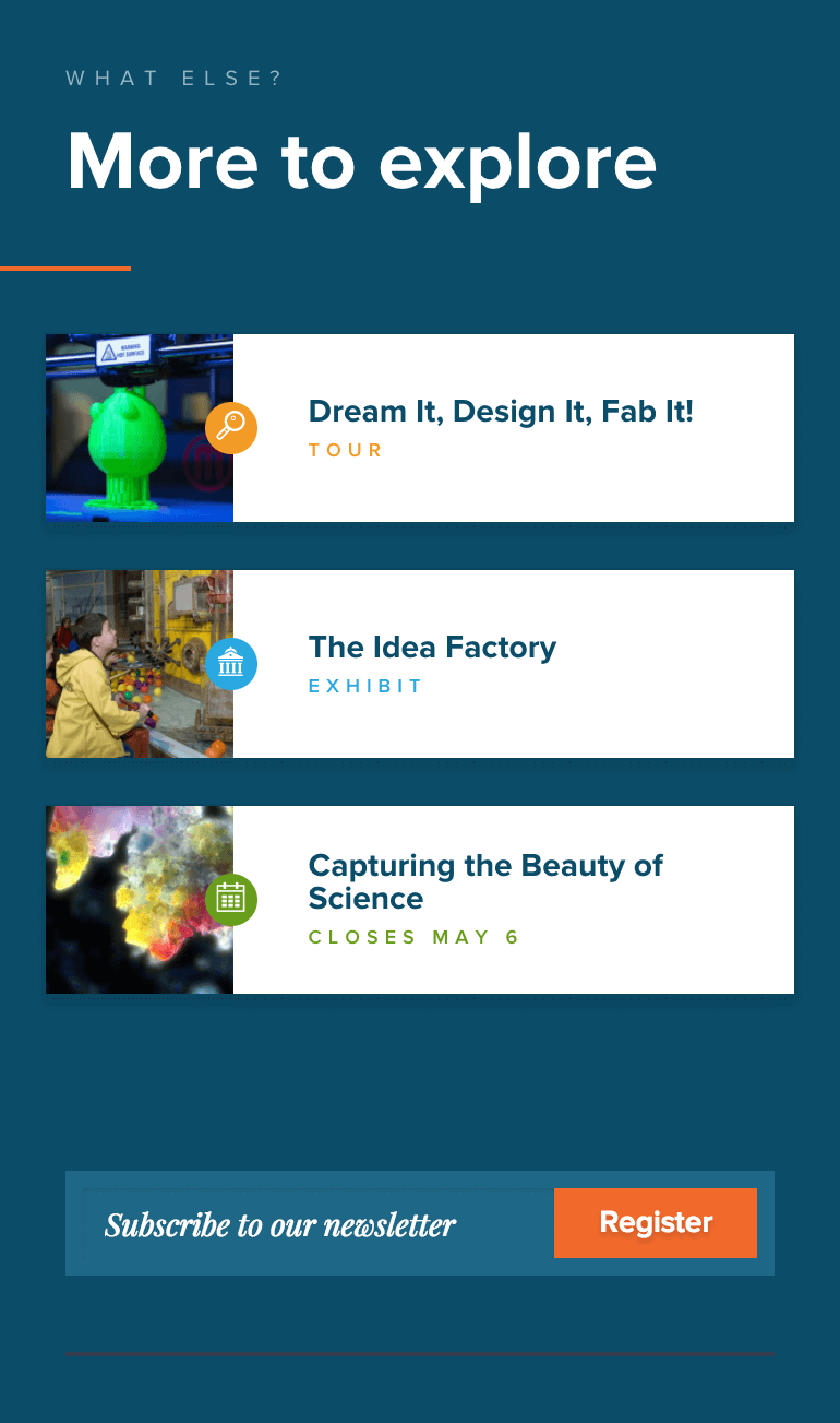 Museum of Science & Industry's website design presents clear next steps
