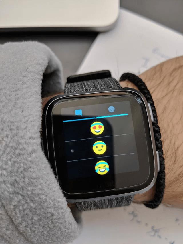 Emoji displayed on a FitBit