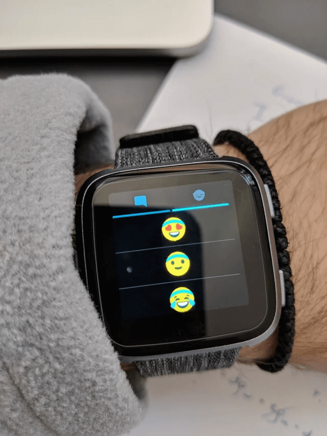 Emoji displayed on a FitBit