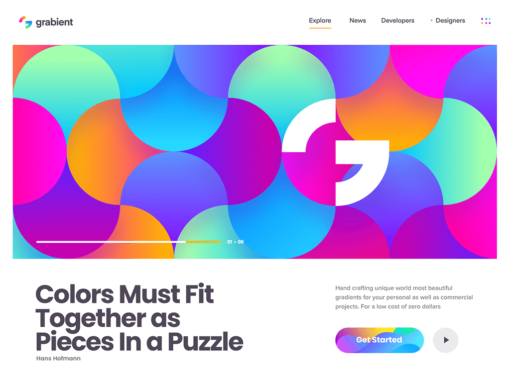 Bright Colors in Grabient Web Design