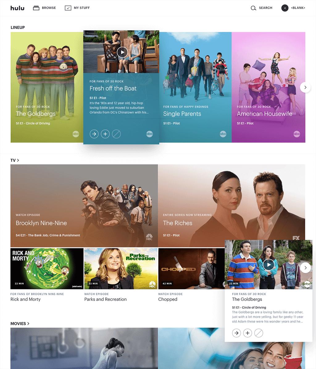 Hulu Website Design With Cards