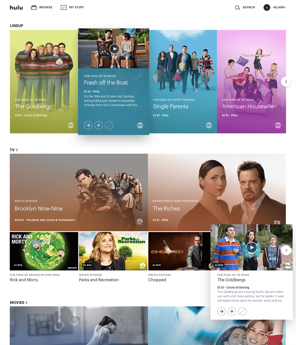 Hulu Website Design With Cards