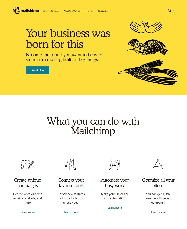 Mailchimp Rebranded Website