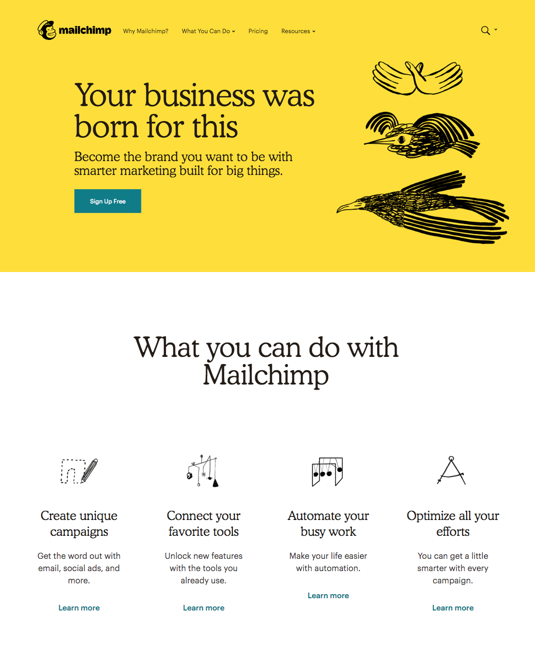 Mailchimp Rebranded Website