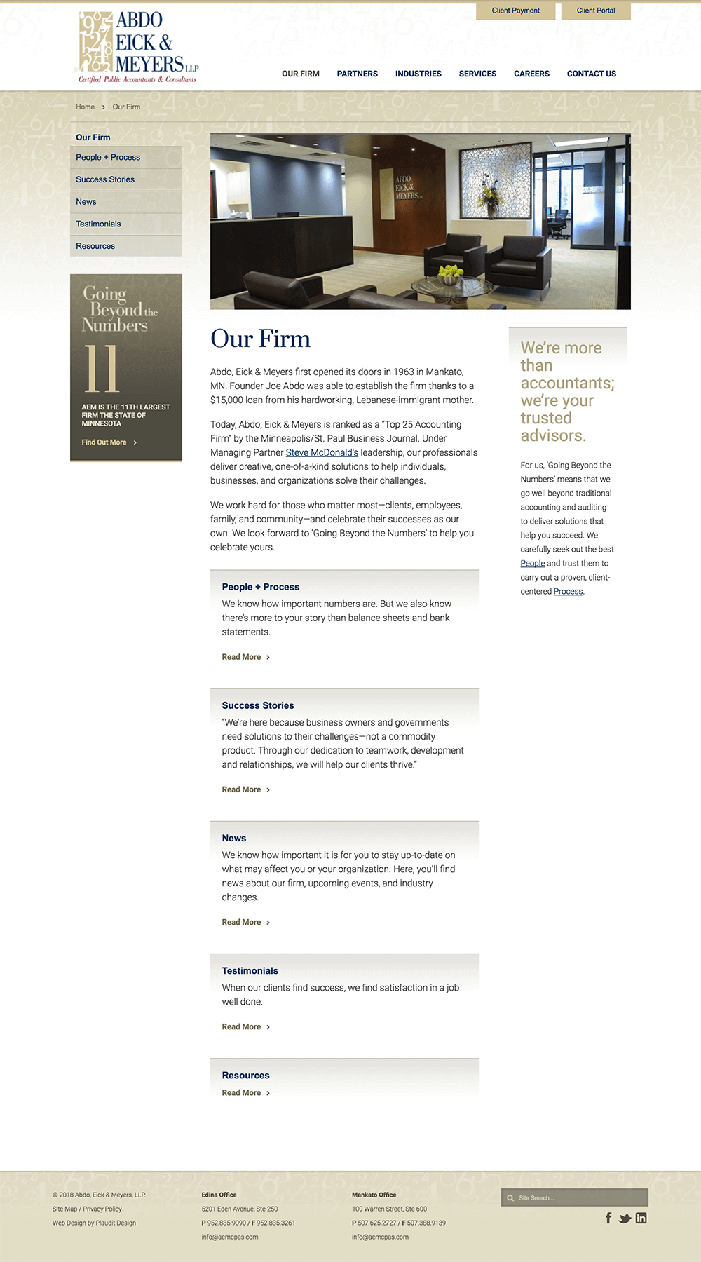 Our Firm web page design