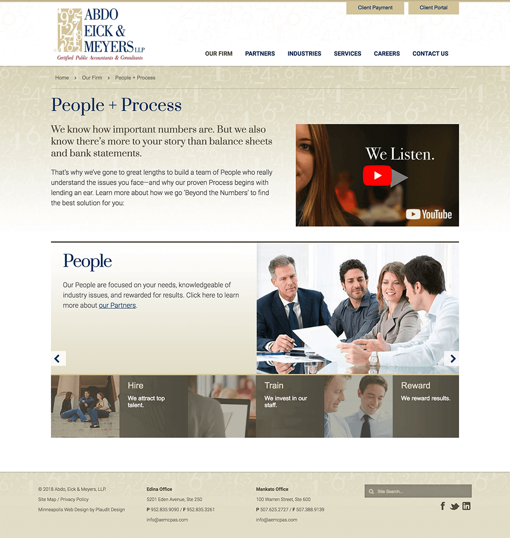 People and Process web page graphic design