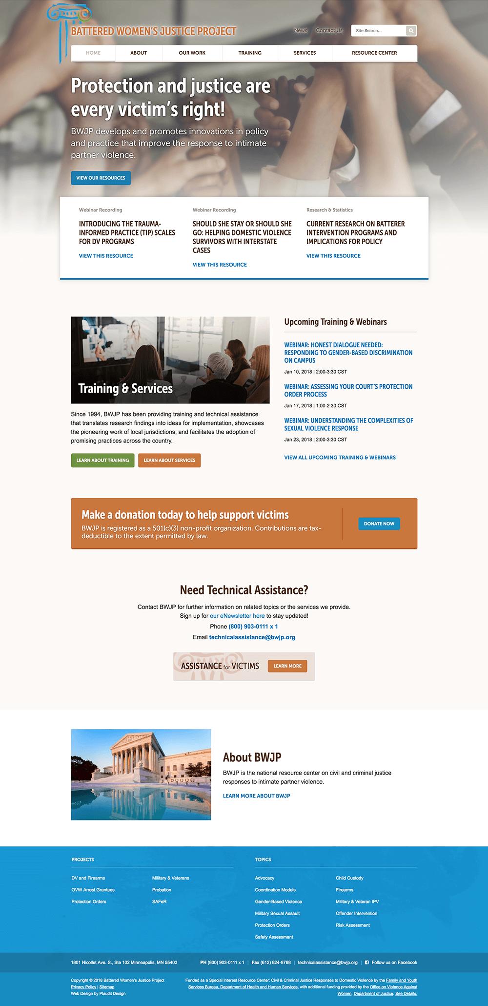 Non-profit homepage design