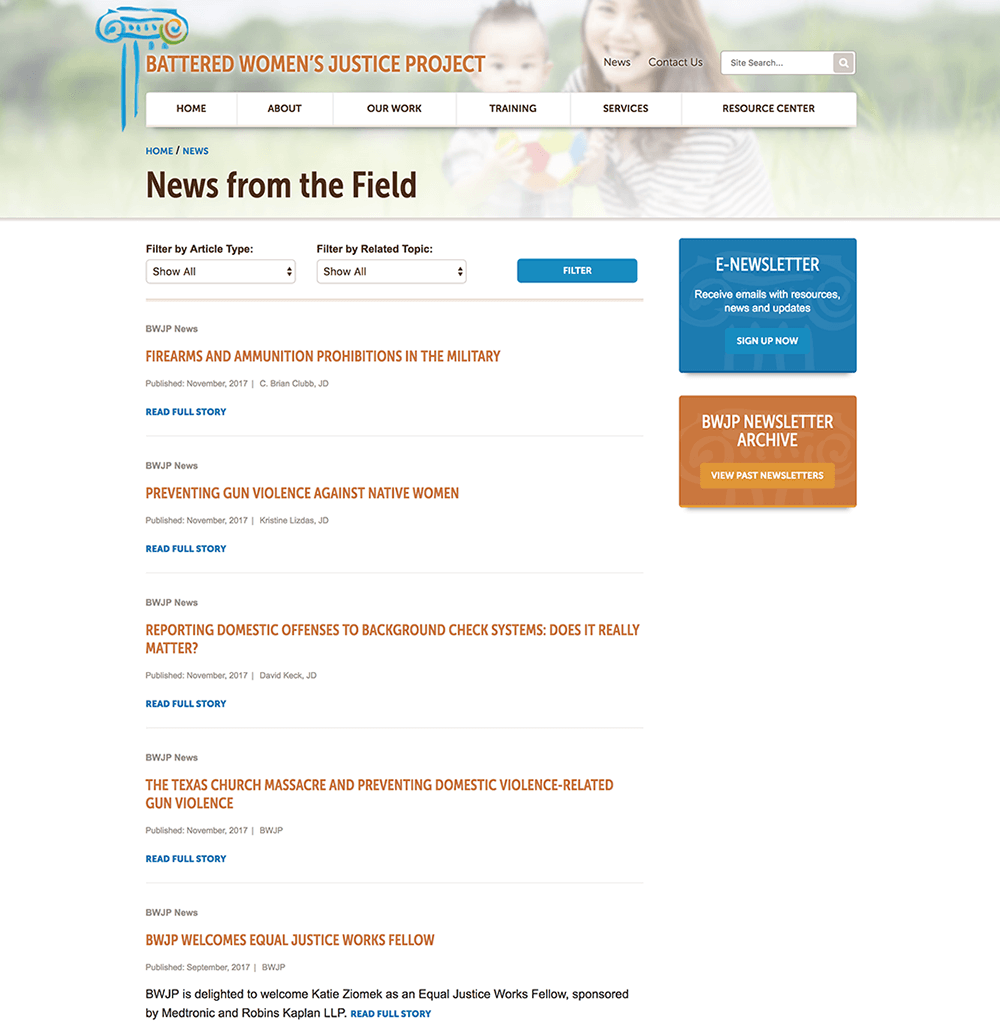 Web design of news page
