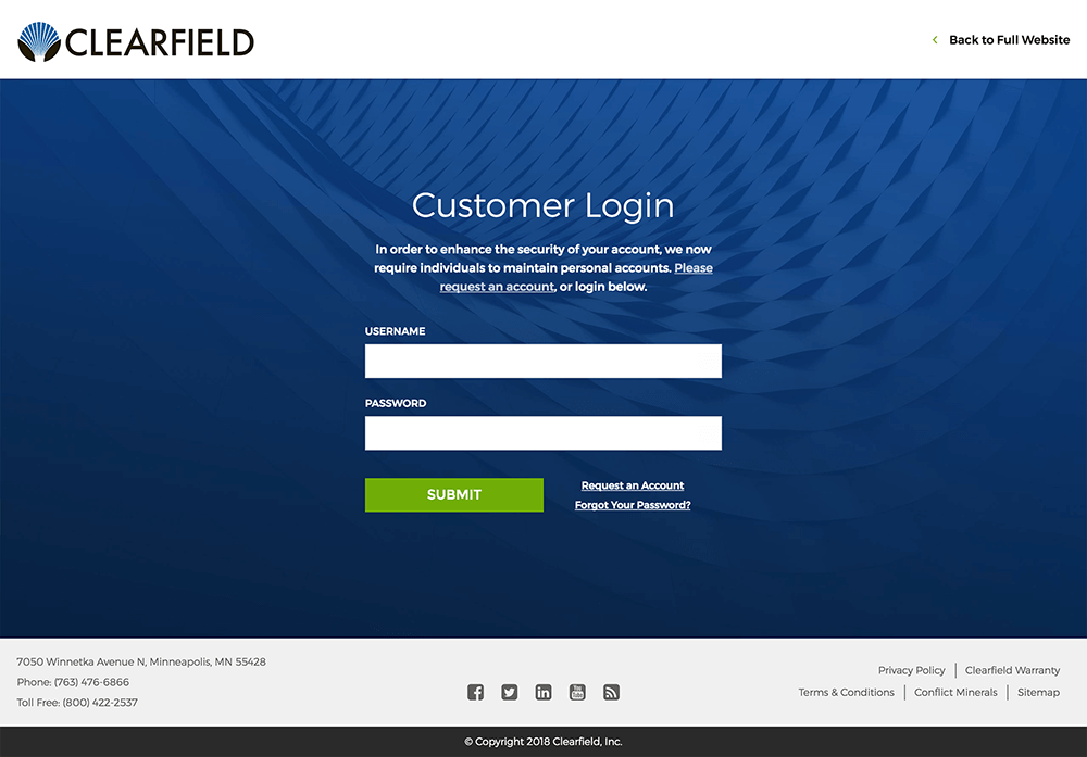 Web designers created a secure customer login