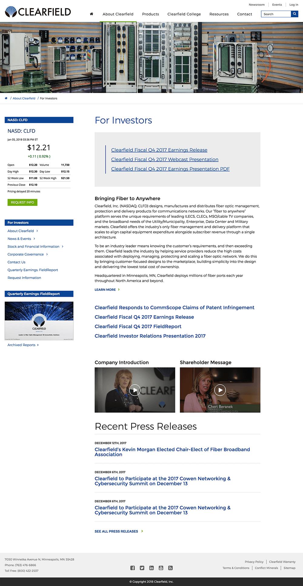 Design of investors web page