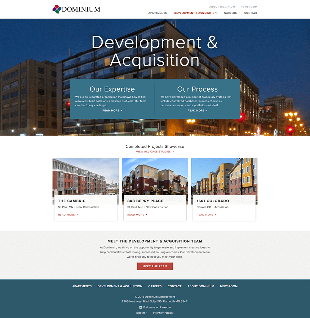 Development & Acquisition web page
