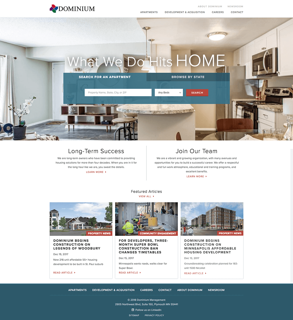 Real estate website design homepage