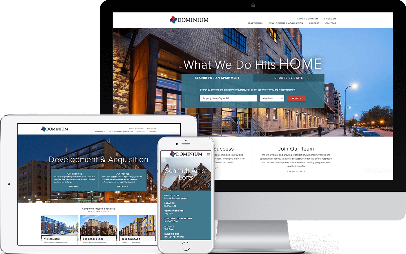 Responsive web design for Dominium