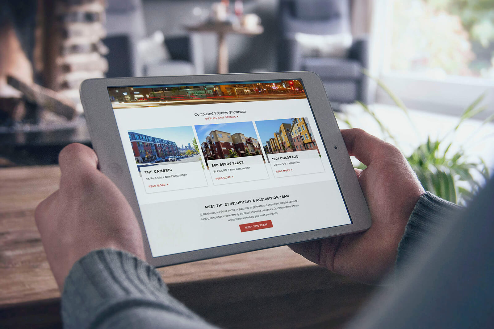 Dominium Apartments' Website Design on Tablet