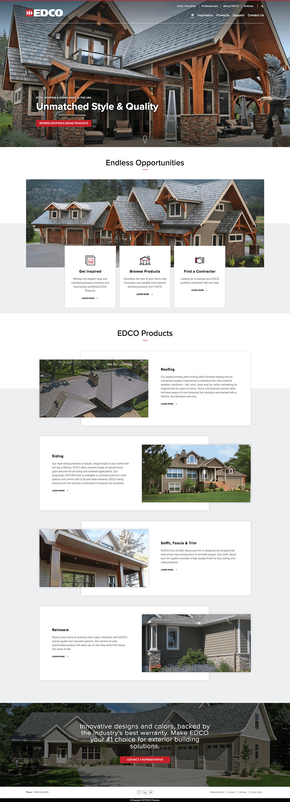 Homepage website design