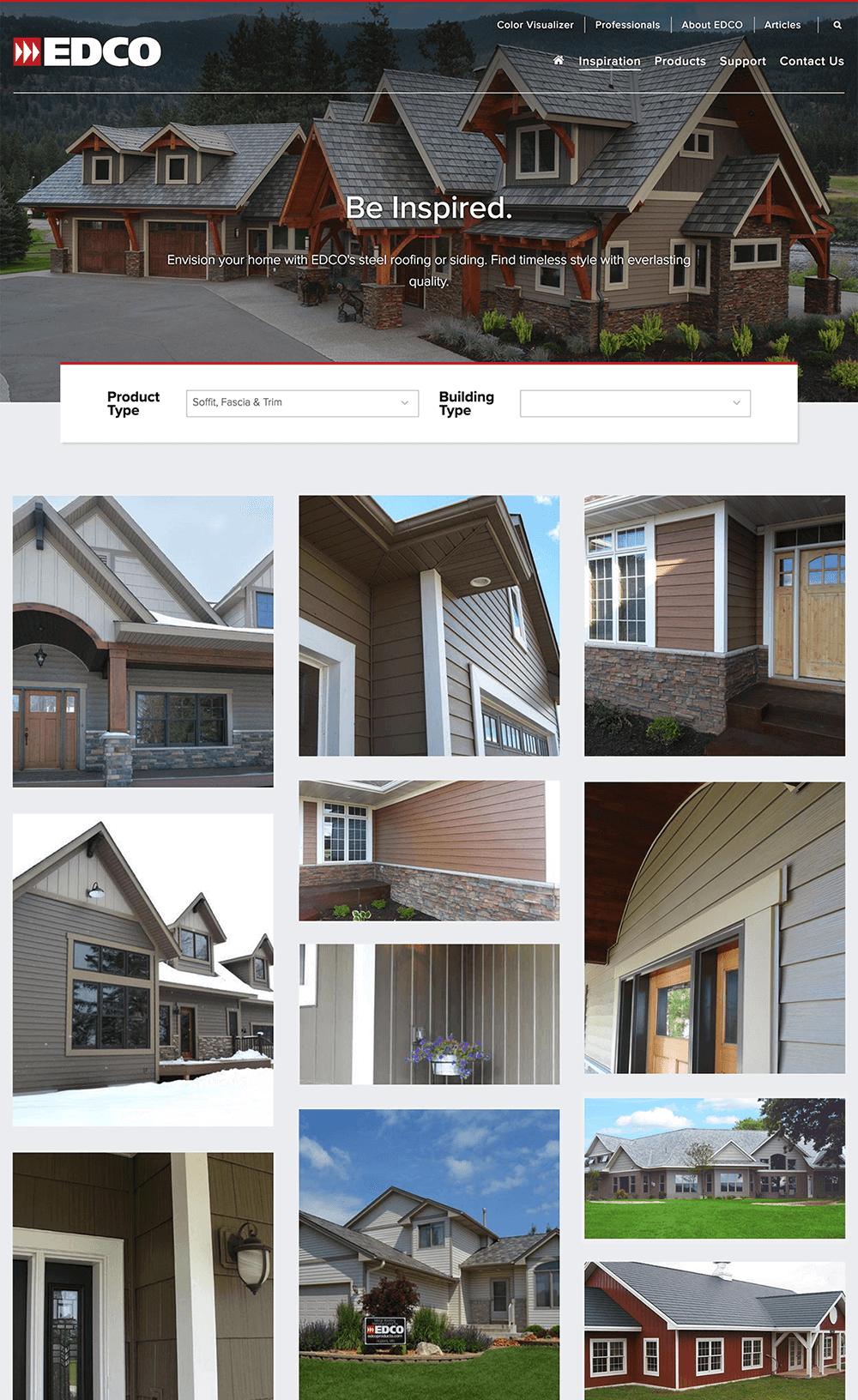 Custom designed Inspiration Gallery filter interface