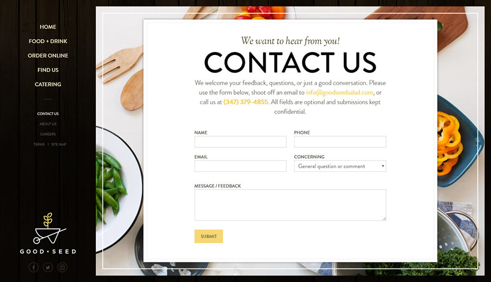 Web design of Contact Us page