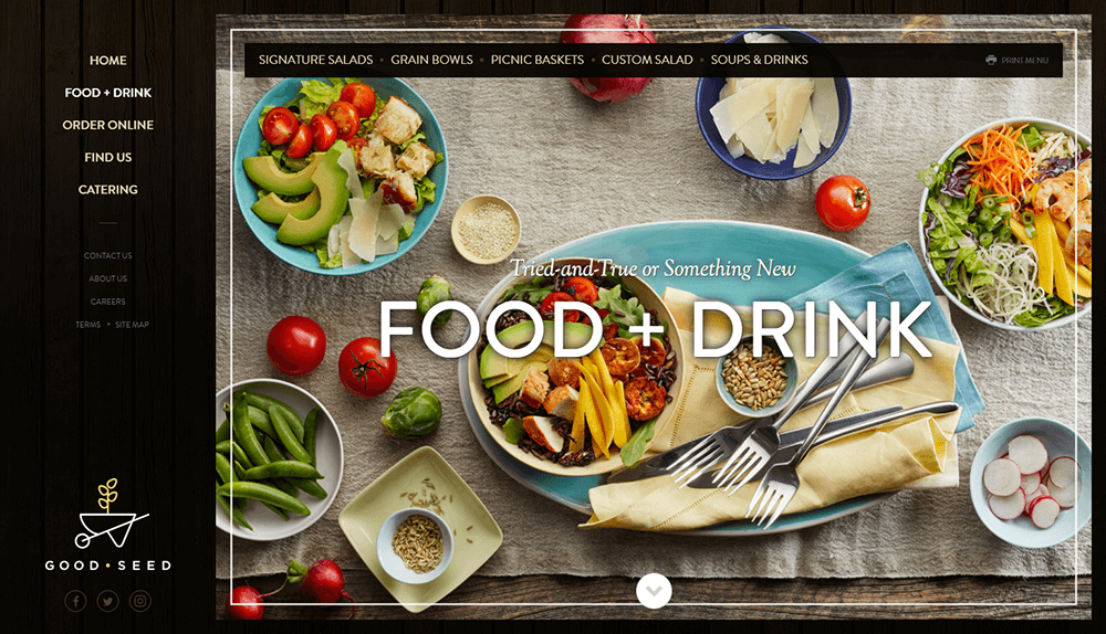 Food and Drink menu web page design