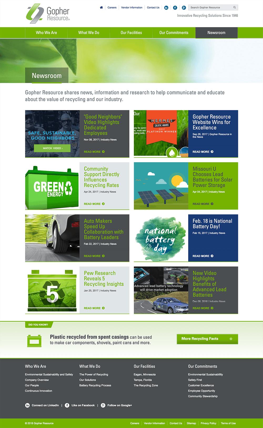 Design of Newsroom web page