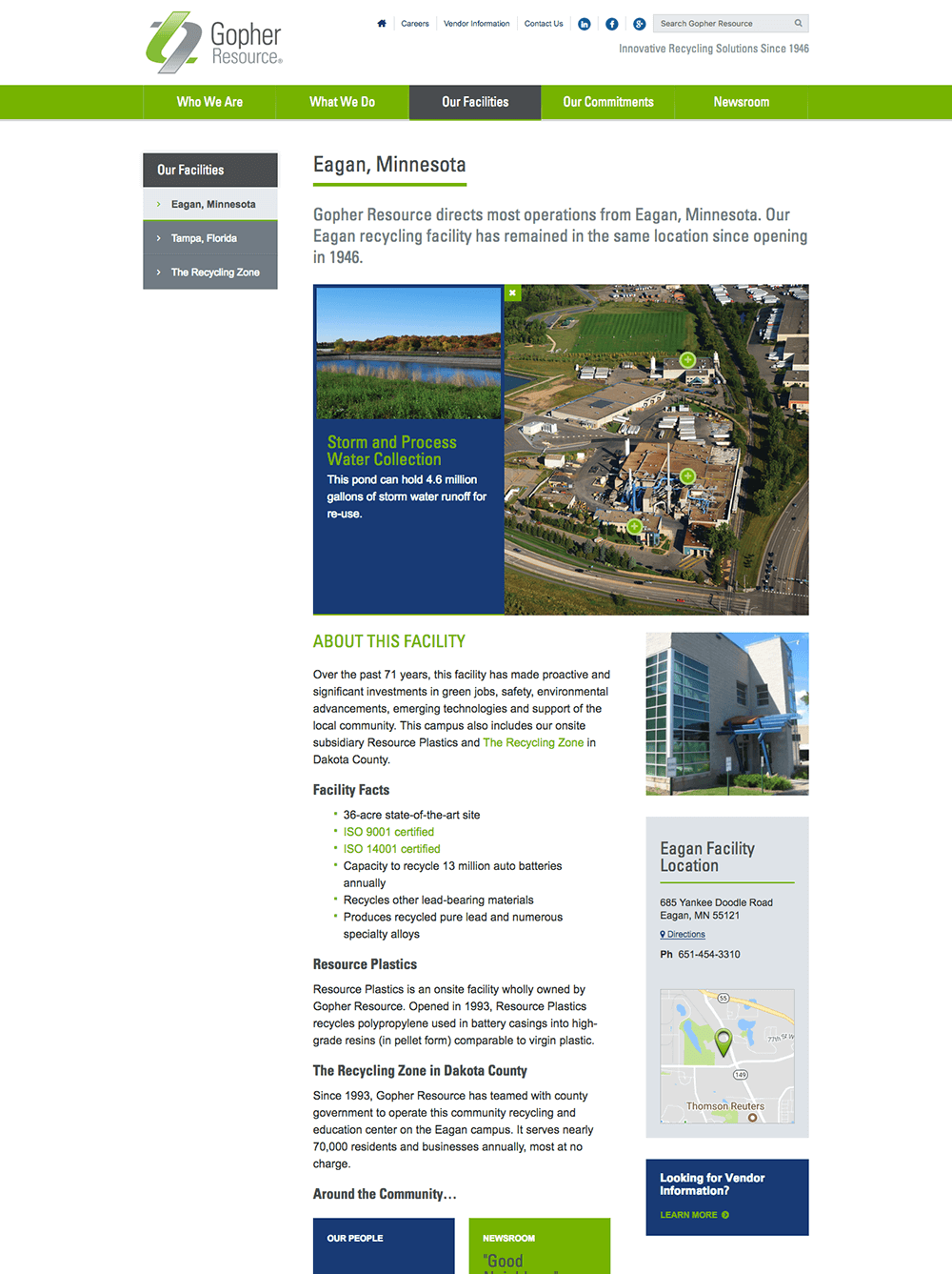 Our Facilities web page design