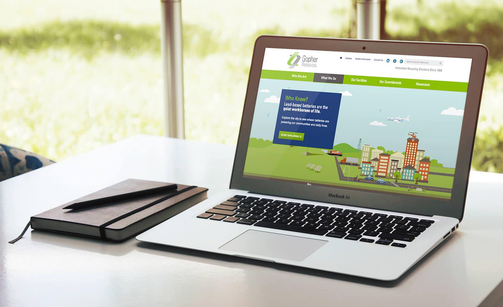Web designer laptop showing interactive design