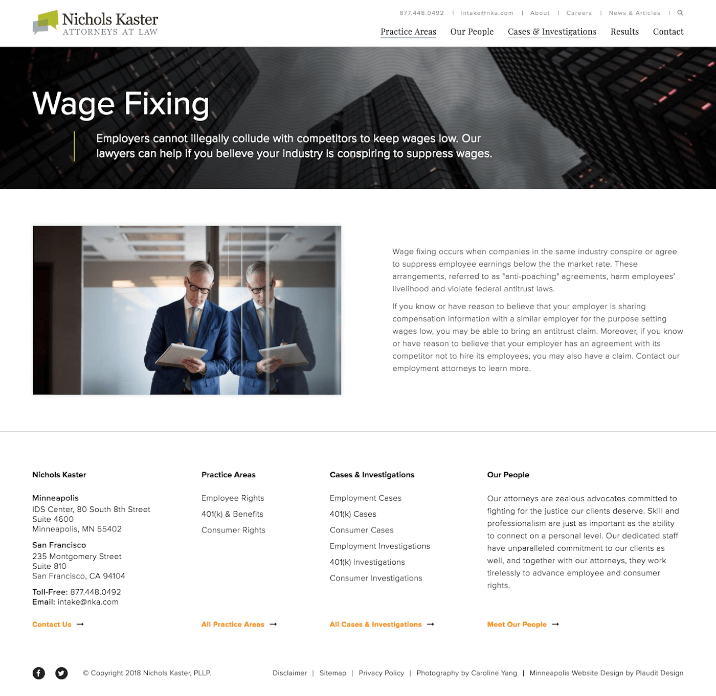 Nichols Kaster Web Design: Wage Fixing Practice Area