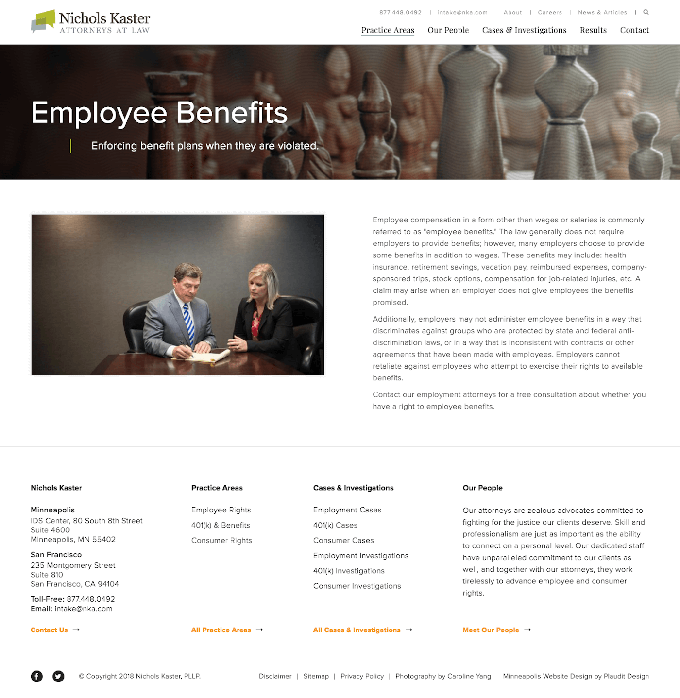 Nichols Kaster Web Design: Employee Benefits Practice Area