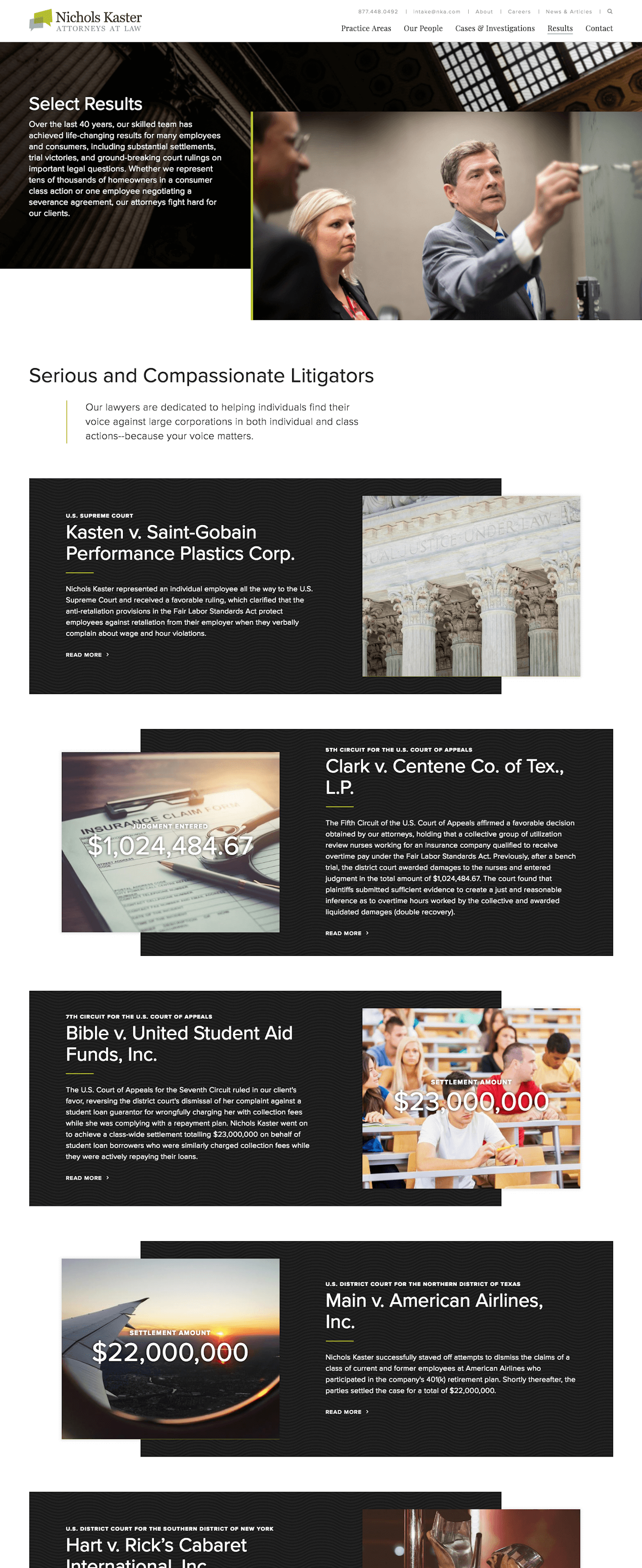 Nichols Kaster Web Design: Featured Results