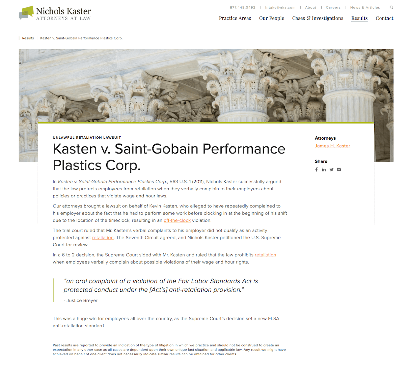 Nichols Kaster Web Design: Additional Featured Case