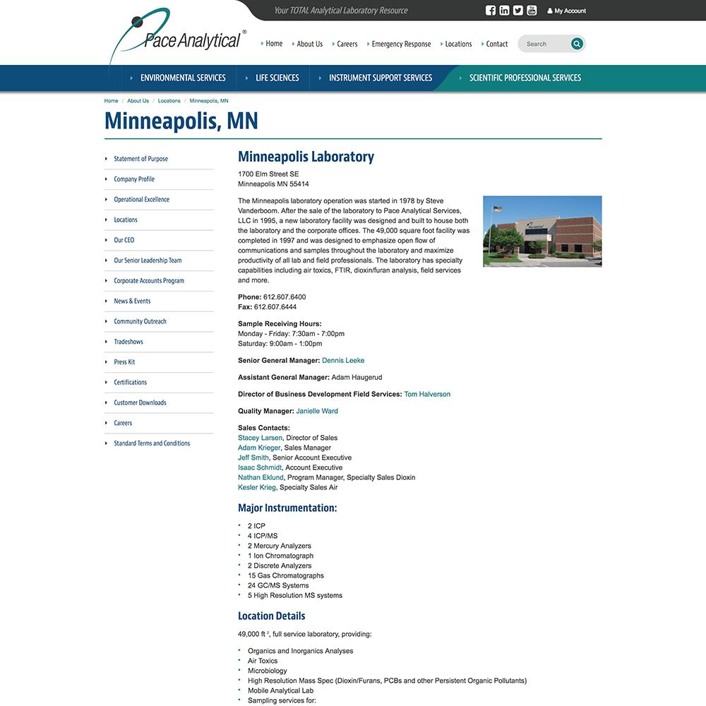 Design of Minneapolis location web page