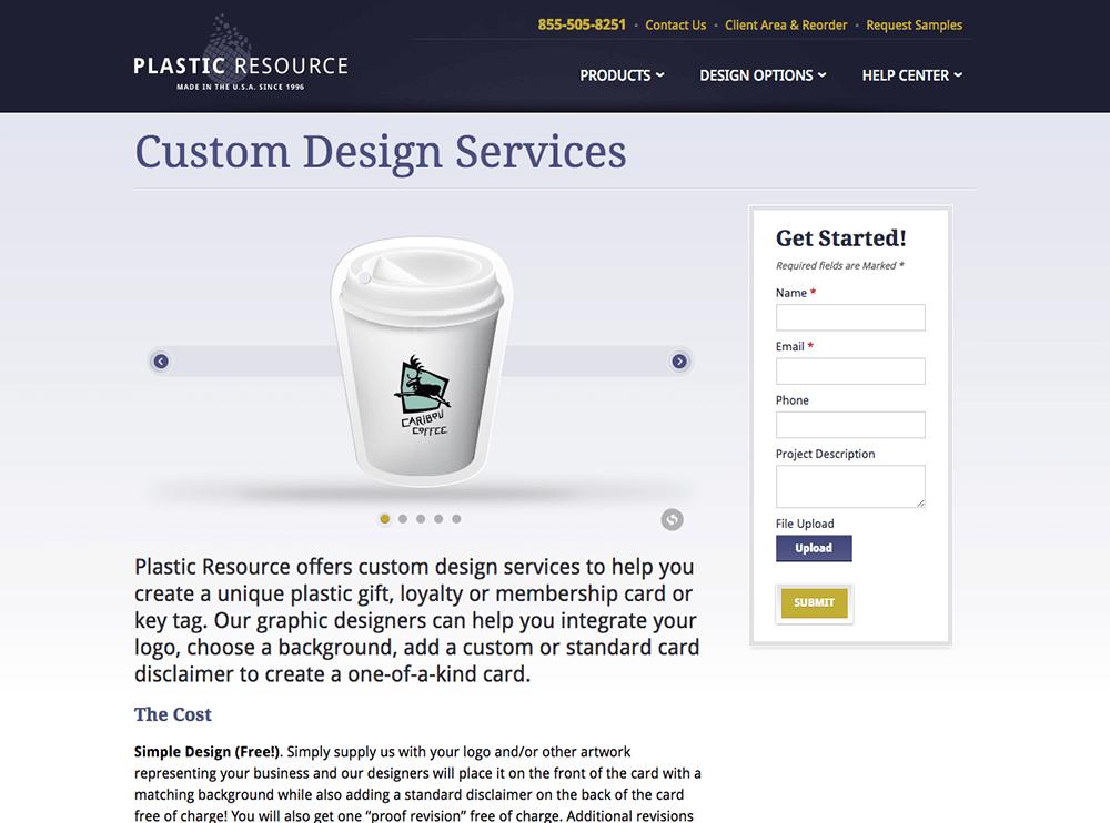 Custom design services web page