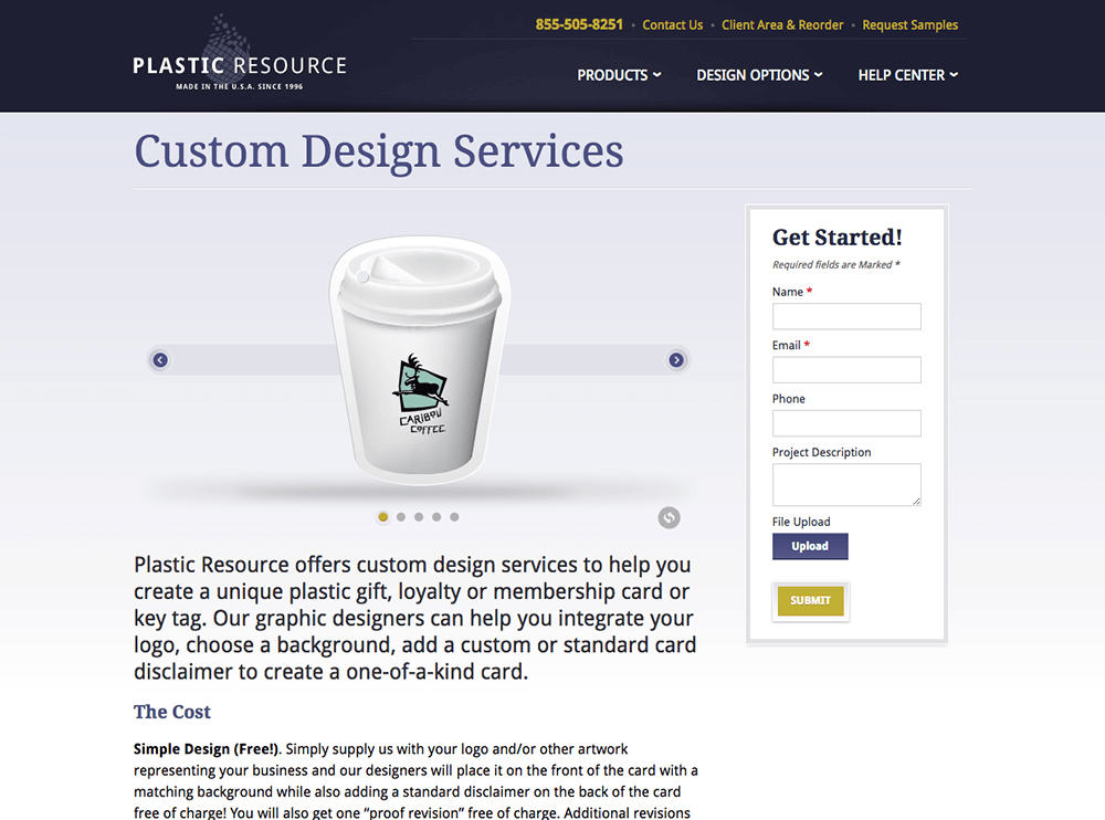 Custom design services web page