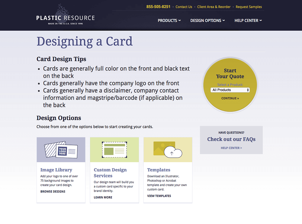 Card design option web page