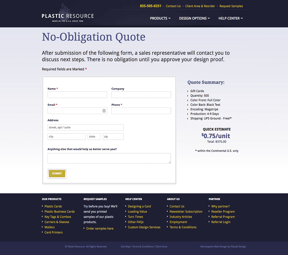 Conversion optimization with a no obligation quote