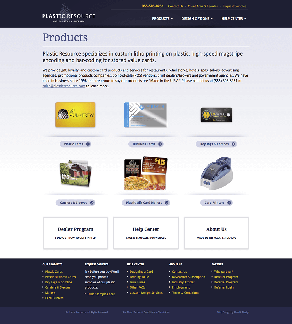 Products web page design