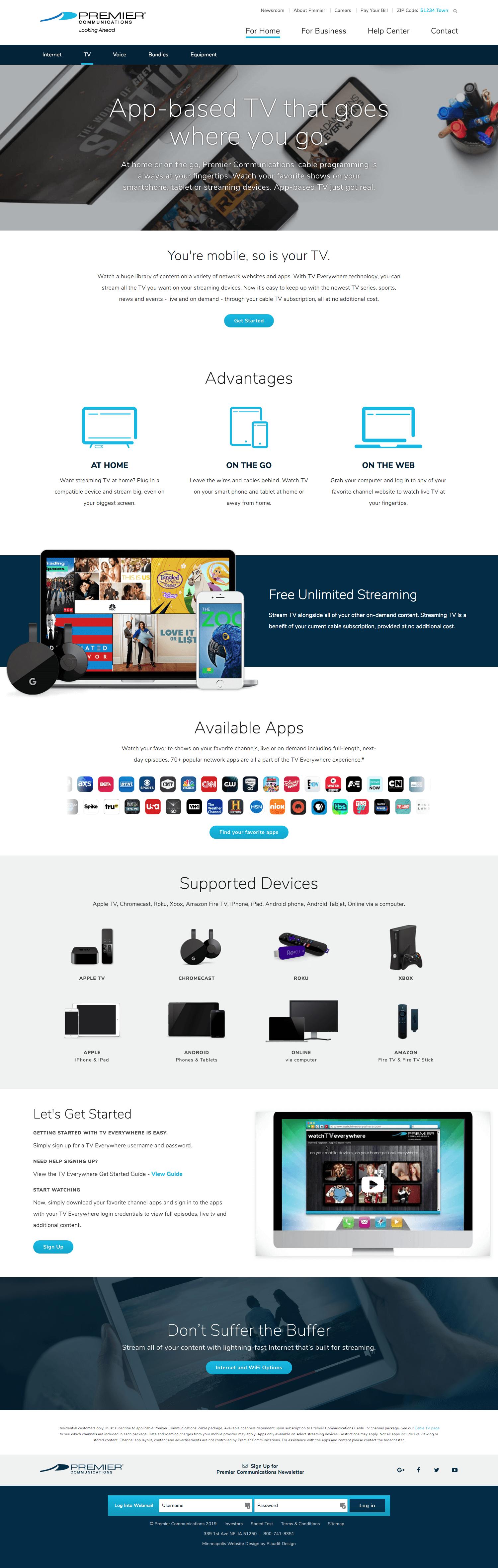 Premier Communications Website: Stream TV Page