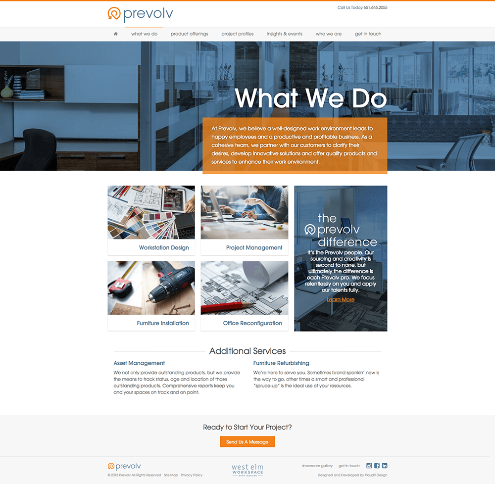 Design of What We Do web page