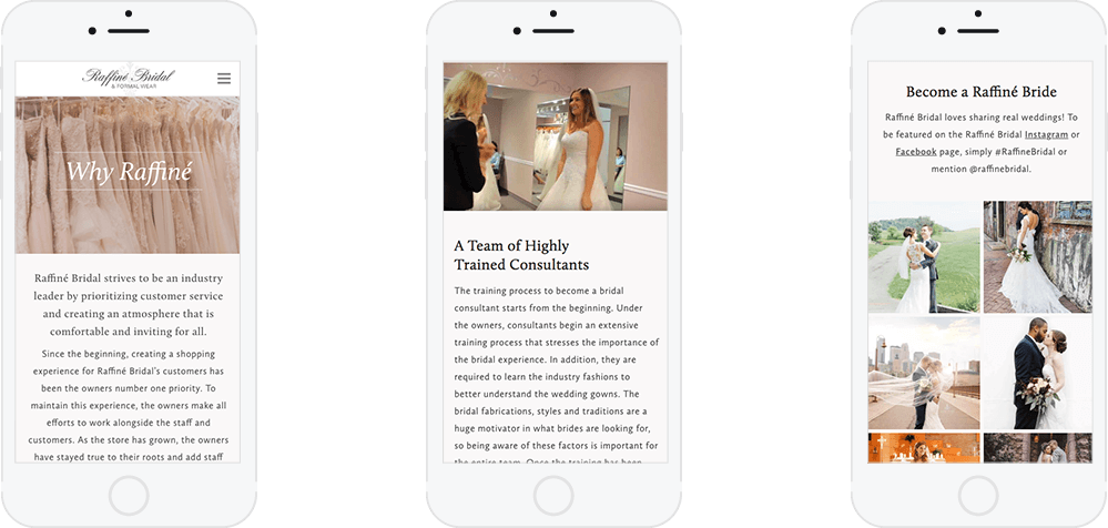 Raffine Bridal's website mocked up on mobile phones