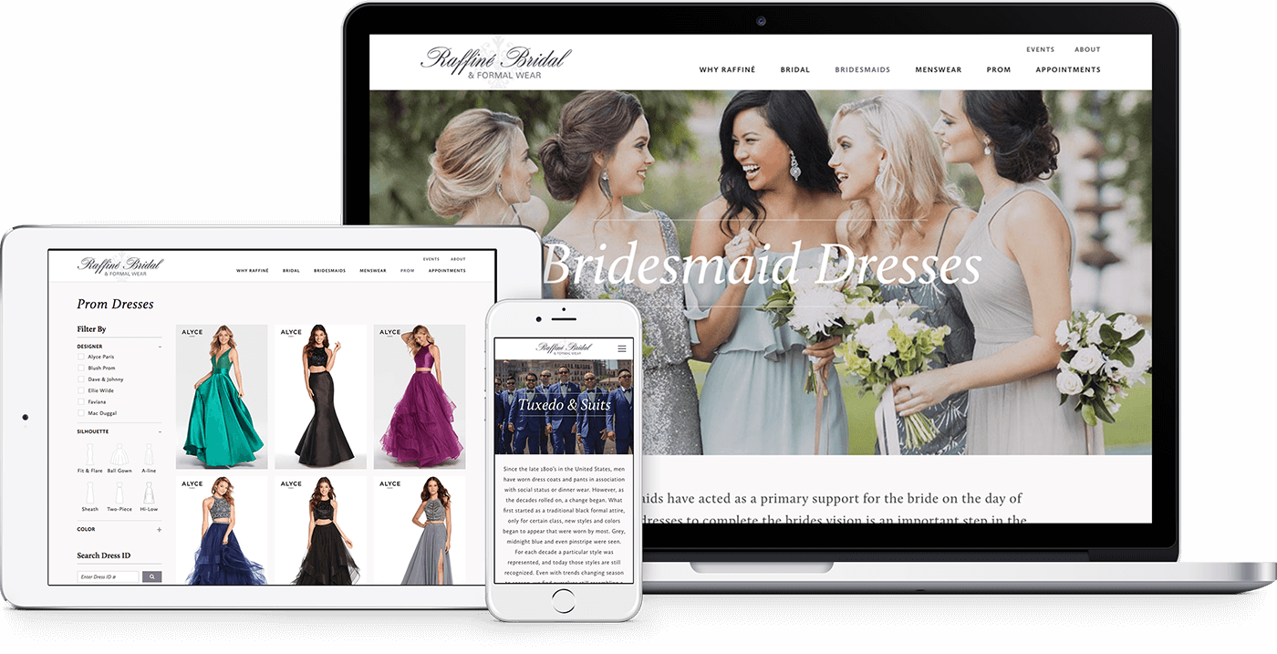 Raffine Bridal's responsive website on a phone, tablet, and desktop monitor