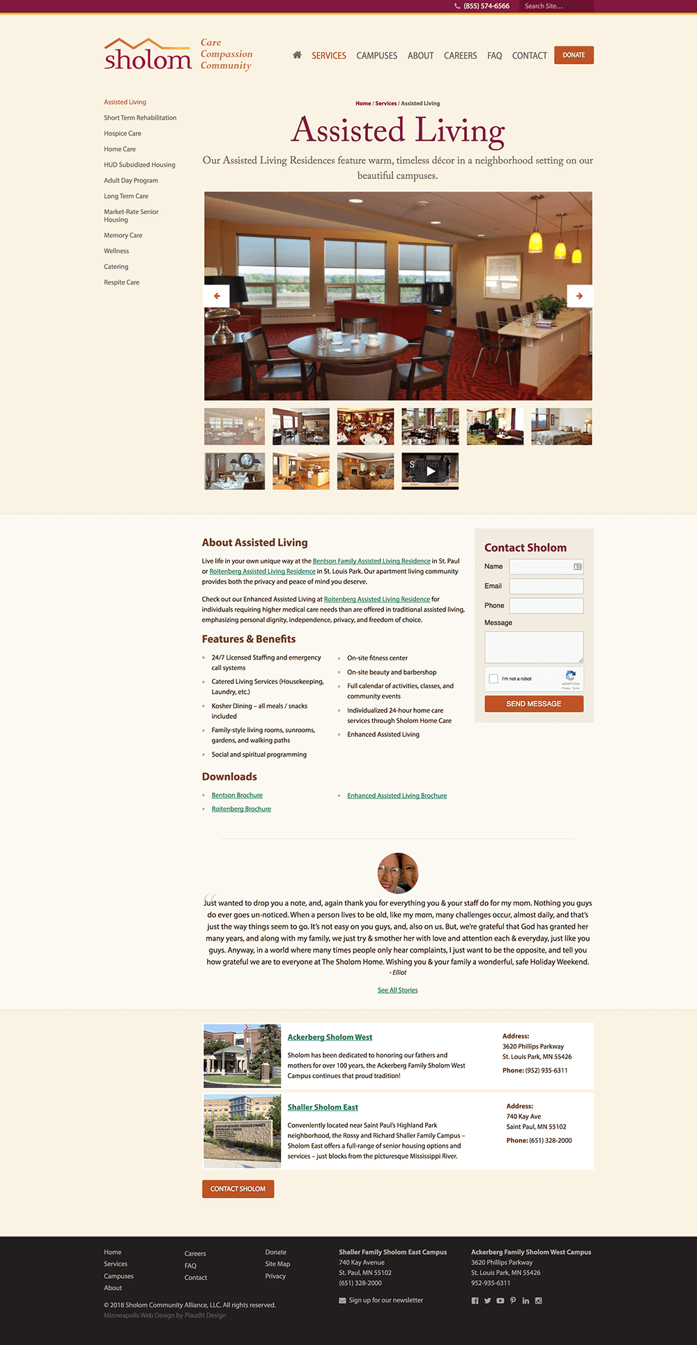 Assisted Living web page design