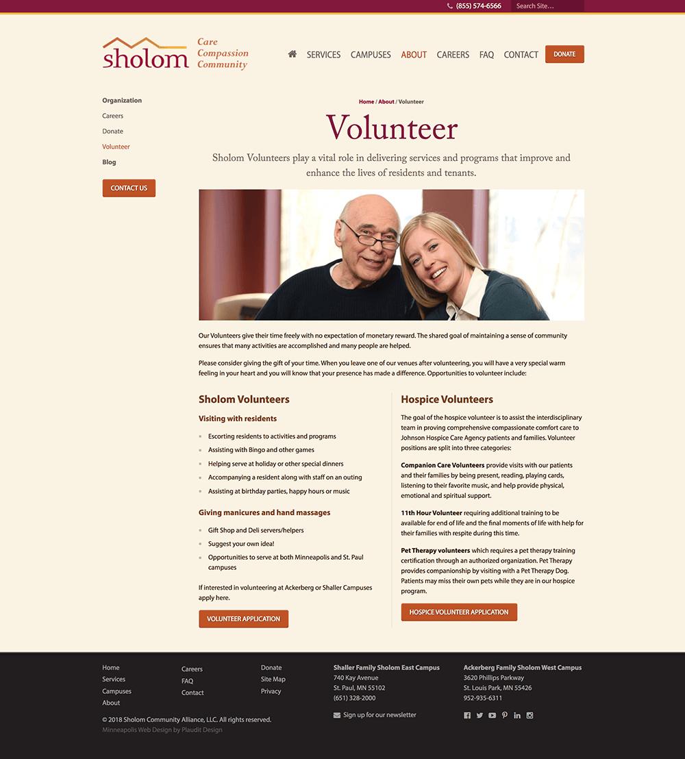 Volunteer web page design