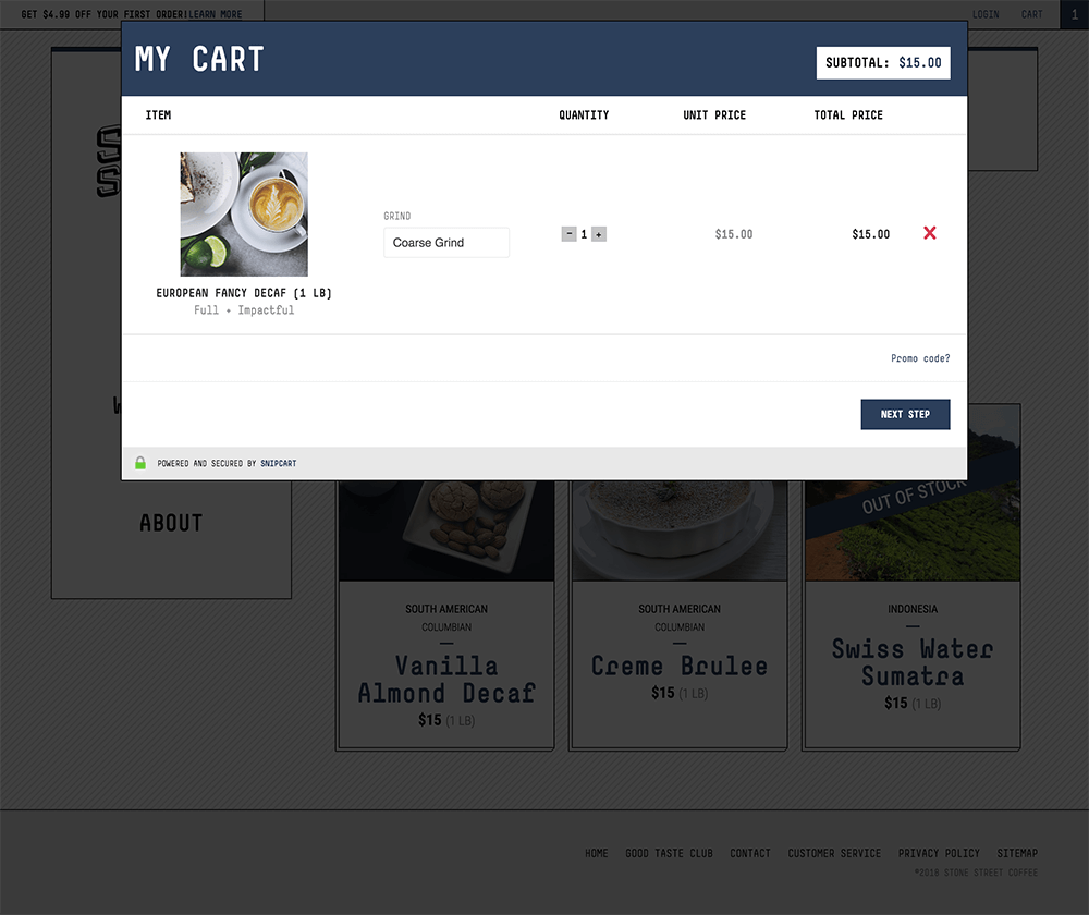 Design of e-commerce cart