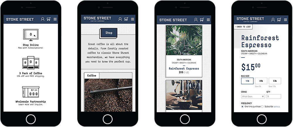 Mobile optimized online shopping design
