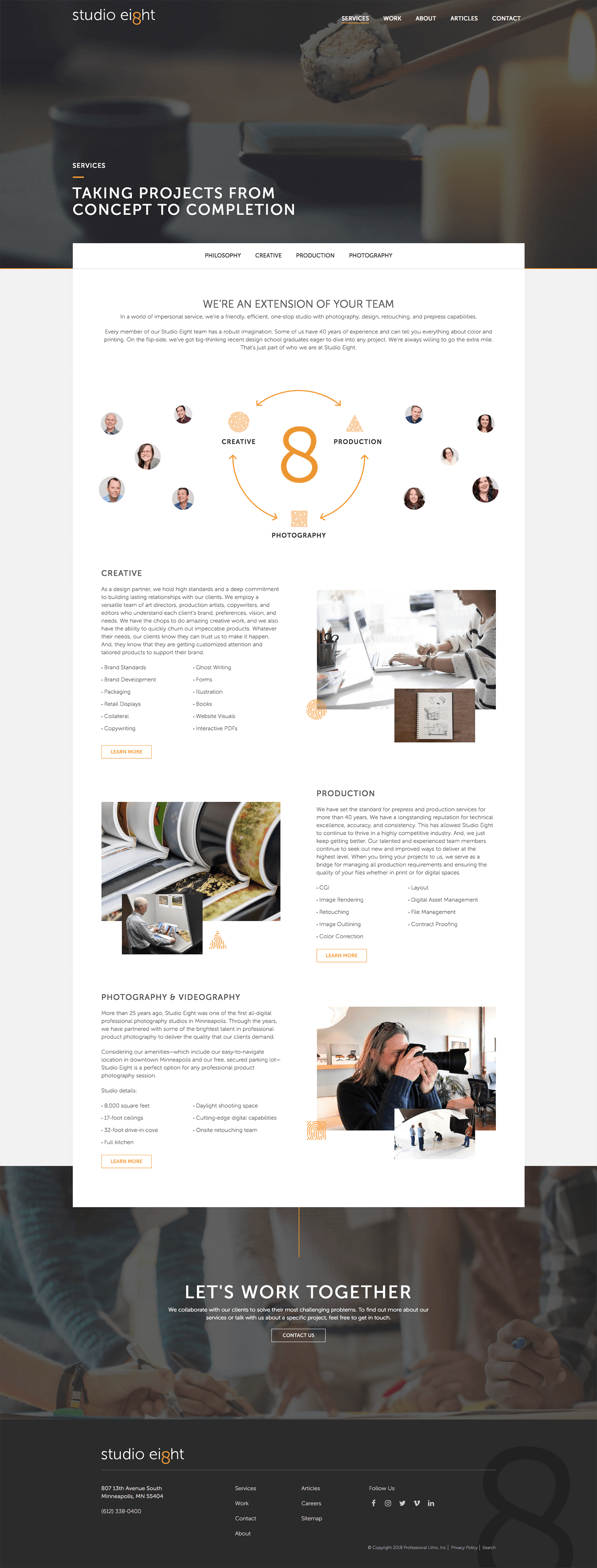 Studio Eight Services Page