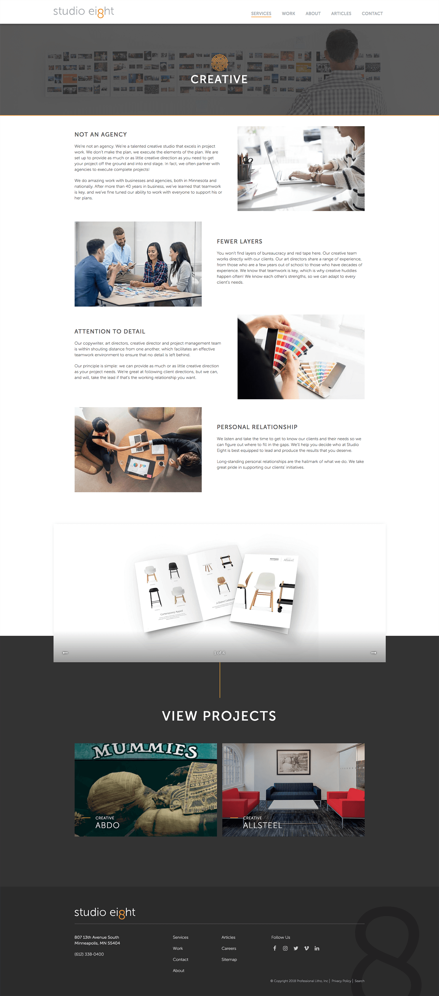 Full Image of Studio Eight's Creative Services Page.