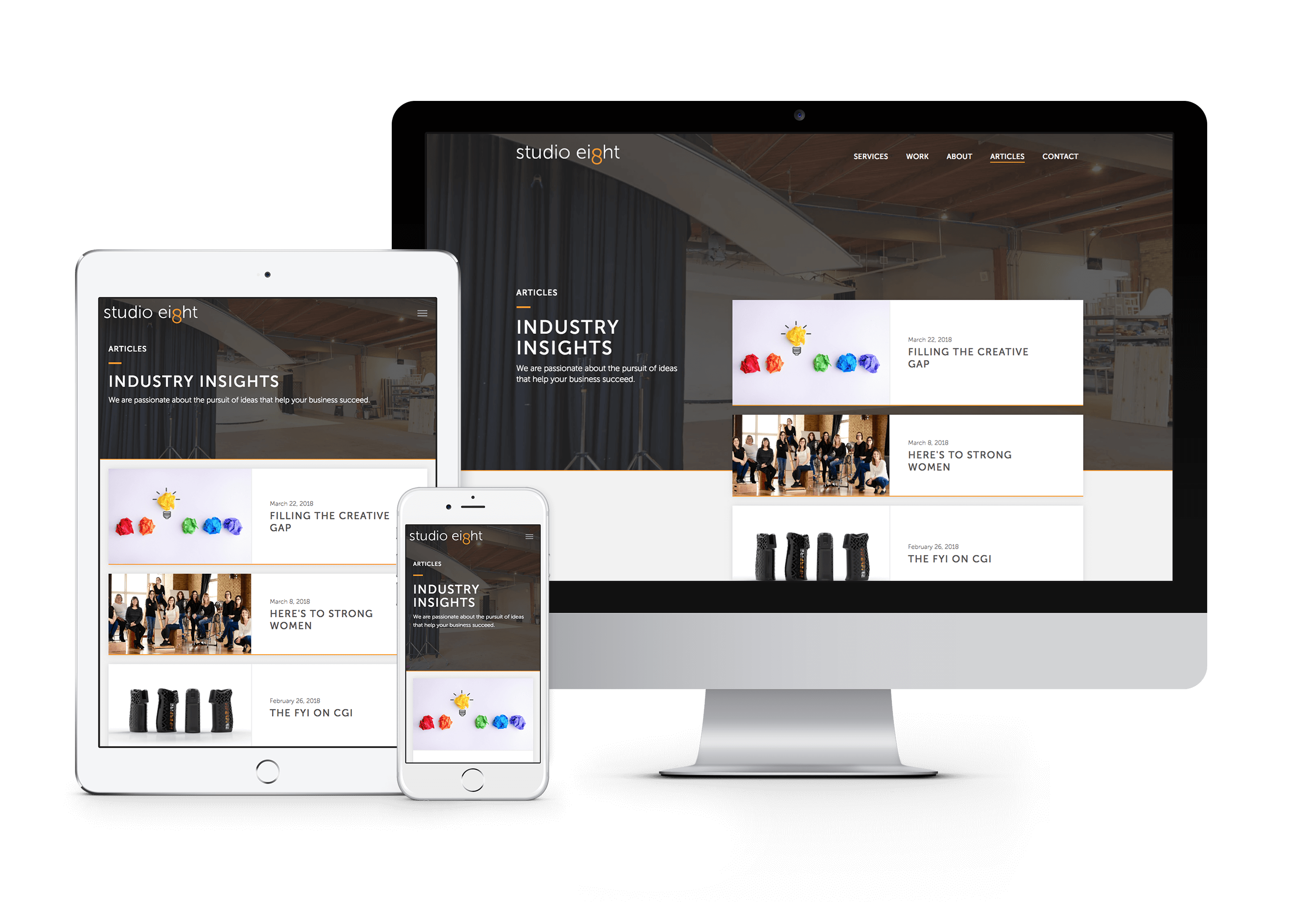 Studio Eight's responsive website on a phone, tablet, and desktop monitor